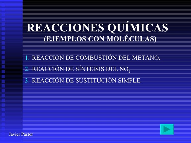 REACCIONES QUÍMICAS (EJEMPLOS CON MOLÉCULAS) <ul><li>REACCION DE COMBUSTIÓN DEL METANO. </li></ul><ul><li>REACCIÓN DE SÍNT...