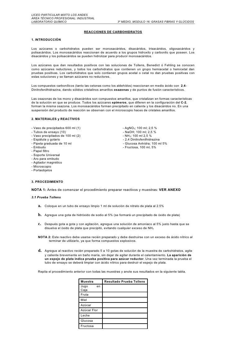 LICEO PARTICULAR MIXTO LOS ANDES ÁREA TÉCNICO PROFESIONAL: INDUSTRIAL LABORATORIO QUÍMICO                                 ...
