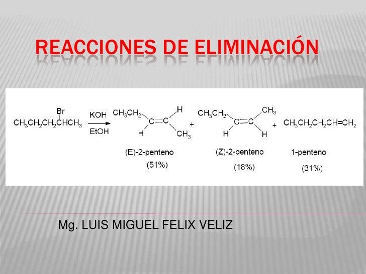 REACCIONES DE ELIMINACIÓN  Mg. LUIS MIGUEL FELIX VELIZ