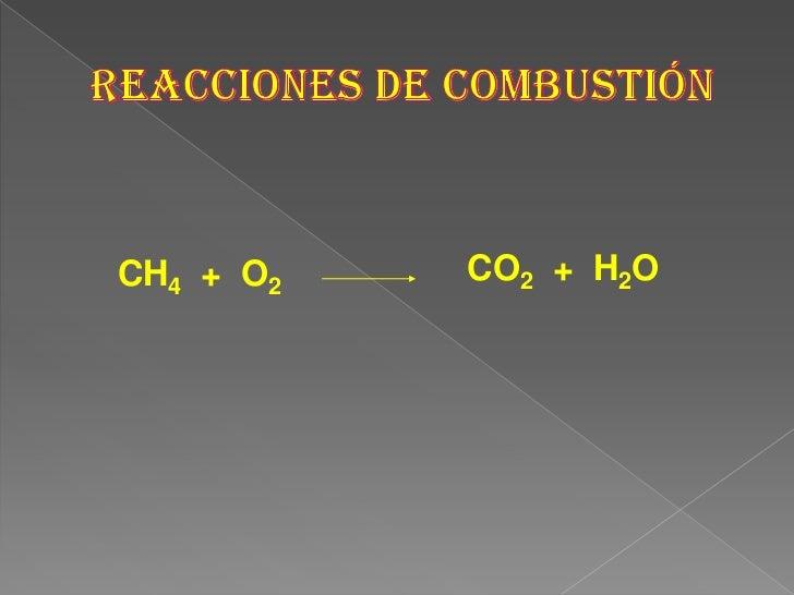 REACCIONES DE COMBUSTIÓN<br />CO2  +  H2O<br />CH4  +  O2<br />