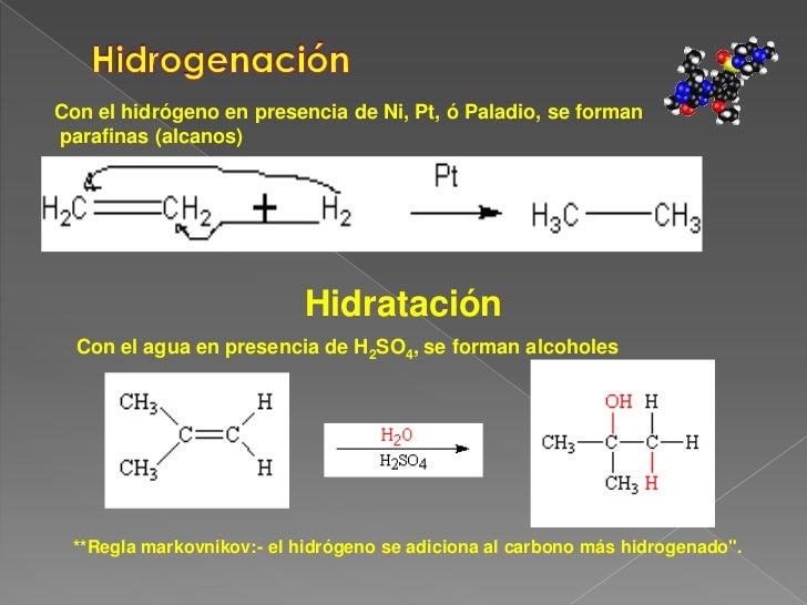 Hidrogenación<br />Con el hidrógeno en presencia de Ni, Pt, ó Paladio, se forman<br /> parafinas (alcanos) <br />Hidrataci...