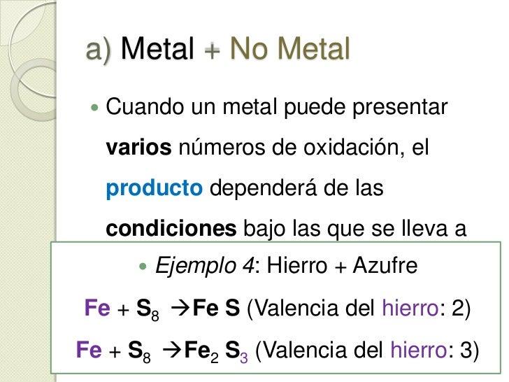 a) Metal + No Metal<br />Dan como resultado un compuesto iónico.  Ej: *<br /><ul><li>Ejemplo 1: Sodio + Cloro</li></ul>Na ...