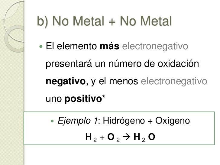 a) Metal + No Metal<br />Cuando un metal puede presentar varios números de oxidación, el producto dependerá de las condici...