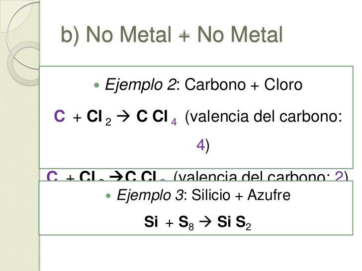b) No Metal + No Metal<br />El elemento máselectronegativo presentará un número de oxidación negativo, y el menos electron...