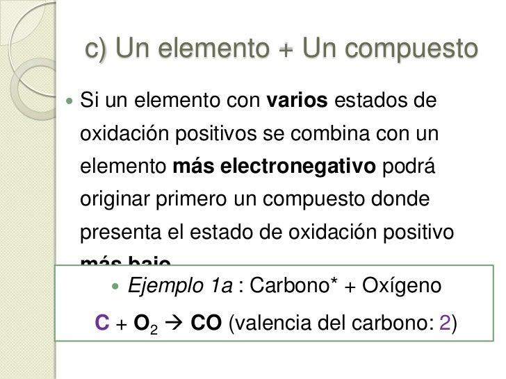 b) No Metal + No Metal<br /><ul><li>Ejemplo 2: Carbono + Cloro</li></ul>C+ Cl 2 C Cl4 (valencia del carbono: 4)<br />C+ C...