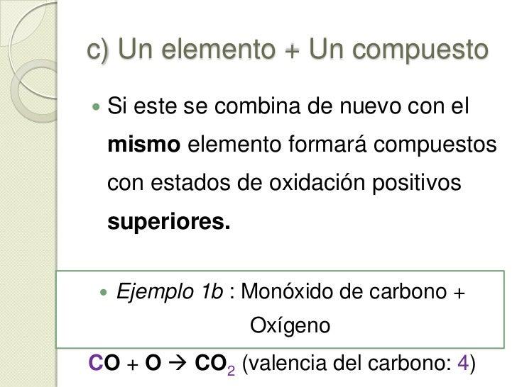 c) Un elemento + Un compuesto<br />Si un elemento con varios estados de oxidación positivos se combina con un elemento más...