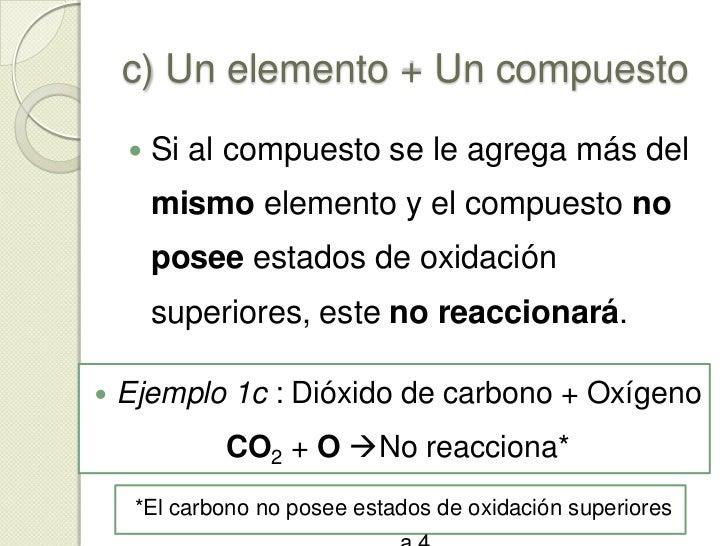 c) Un elemento + Un compuesto<br />Si este se combina de nuevo con el mismo elemento formará compuestos con estados de oxi...