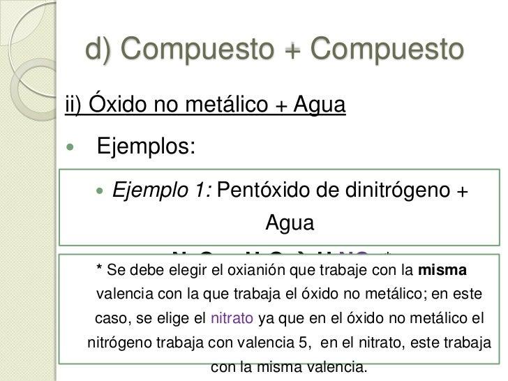 """d) Compuesto + Compuesto<br />ii) Óxido no metálico + Agua<br />Éstas dan como resultado un compuesto llamado """"Oxácido"""" y ..."""