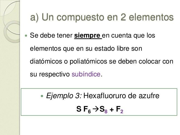 a) Un compuesto en 2 elementos<br />El elemento se descompone totalmente en 2 elementos que lo constituyen (independientem...