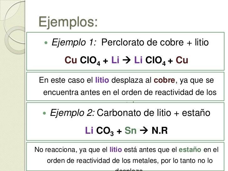 Orden de reactividad de los metales<br />En las reacciones de desplazamiento un elemento desplaza al otro dependiendo de s...