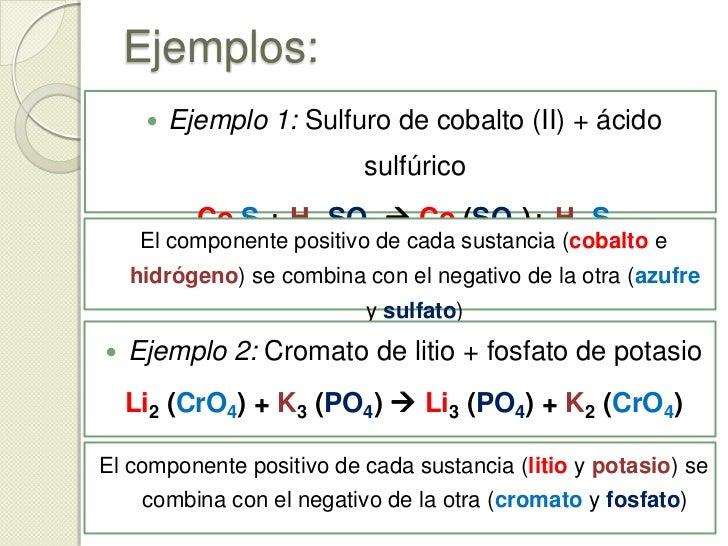 Reacciones de doble desplazamiento<br />En este tipo de reacciones, dos sustancias constituidas por un componente positivo...