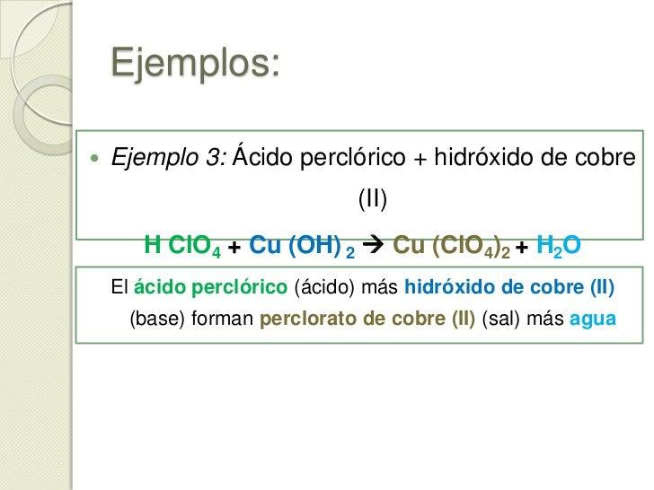 Ejemplos:<br /><ul><li>Ejemplo1: Ácido clorhídrico + hidróxido de potasio</li></ul>H Cl + K (OH)  K Cl + H2O<br />El ácid...
