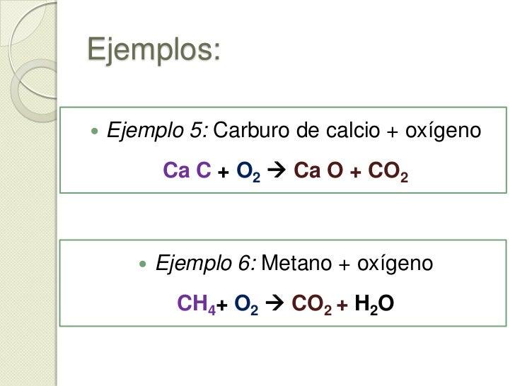 Ejemplos:<br />b) Al quemar un compuesto generalmente  se producen óxidos de los elementos presentes en su estado de oxida...