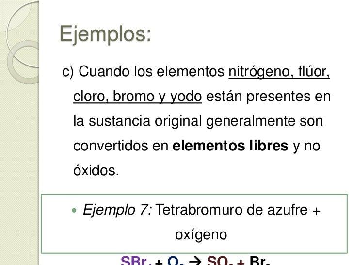 Ejemplos:<br /><ul><li>Ejemplo 5: Carburo de calcio + oxígeno</li></ul>Ca C + O2 Ca O + CO2<br /><ul><li>Ejemplo 6: Metan...