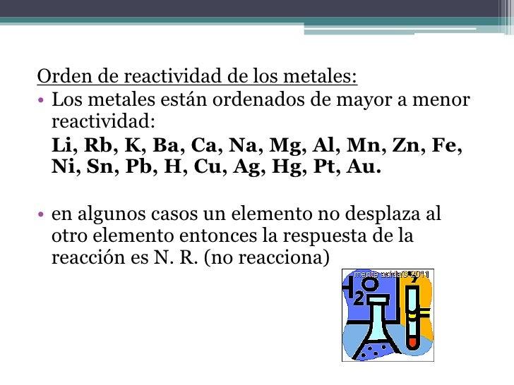 Orden de reactividad de los metales:• Los metales están ordenados de mayor a menor  reactividad:  Li, Rb, K, Ba, Ca, Na, M...