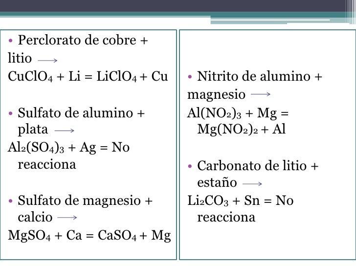 • Perclorato de cobre +litioCuClO4 + Li = LiClO4 + Cu   • Nitrito de alumino +                            magnesio• Sulfat...