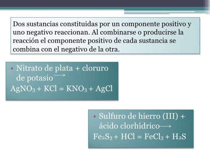 Dos sustancias constituidas por un componente positivo yuno negativo reaccionan. Al combinarse o producirse lareacción el ...