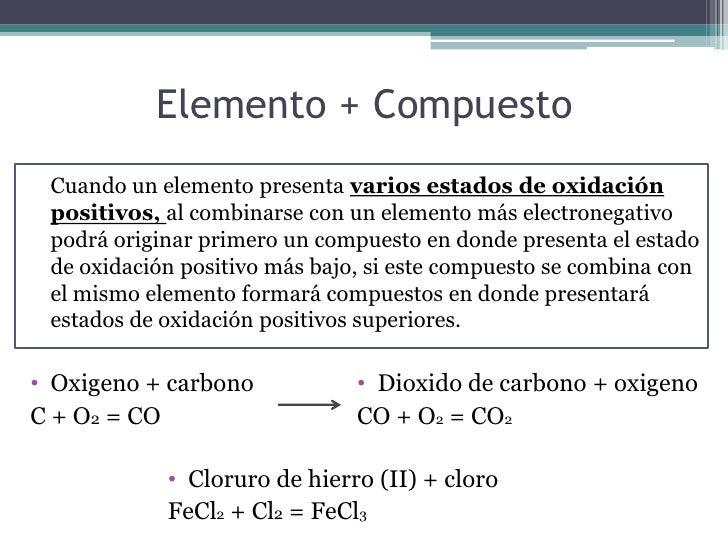 Elemento + Compuesto Cuando un elemento presenta varios estados de oxidación positivos, al combinarse con un elemento más ...
