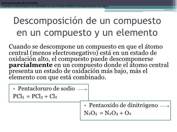 Descomposición de hidróxidosCuando se descompone un hidróxido nos da el óxido metálico correspondiente más agua.         D...