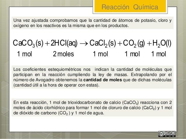 Reacción Química Una vez ajustada comprobamos que la cantidad de átomos de potasio, cloro y oxígeno en los reactivos es la...