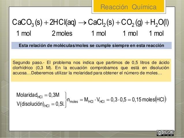 Reacción Química Esta relación de moléculas/moles se cumple siempre en esta reacción Segundo paso.- El problema nos indica...