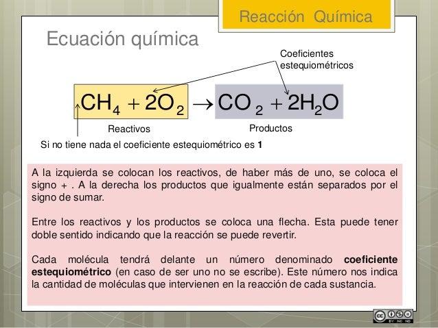 Reacción Química Ecuación química O2HCO2OCH 2224  A la izquierda se colocan los reactivos, de haber más de uno, se colo...