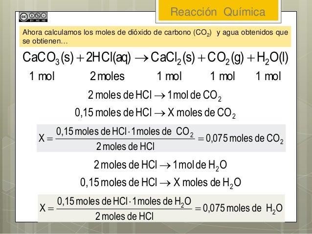 Reacción Química Ahora calculamos los moles de dióxido de carbono (CO2) y agua obtenidos que se obtienen… 2 2 COdemolesXHC...