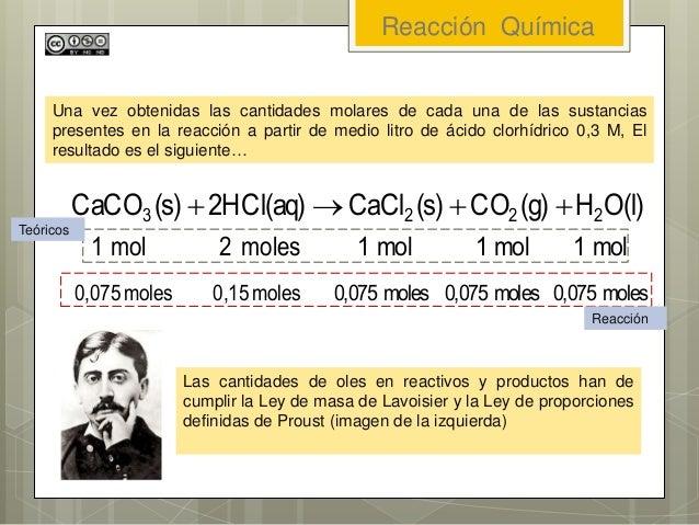 Reacción Química Una vez obtenidas las cantidades molares de cada una de las sustancias presentes en la reacción a partir ...