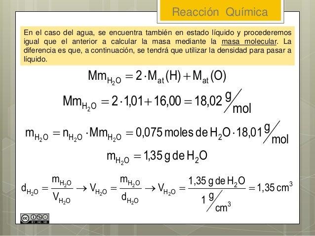 Reacción Química En el caso del agua, se encuentra también en estado líquido y procederemos igual que el anterior a calcul...
