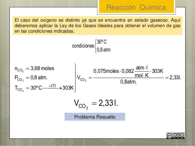 Reacción Química El caso del oxígeno es distinto ya que se encuentra en estado gaseoso. Aquí deberemos aplicar la Ley de l...