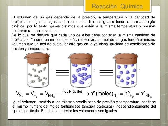 El volumen de un gas depende de la presión, la temperatura y la cantidad de moléculas del gas. Los gases distintos en cond...