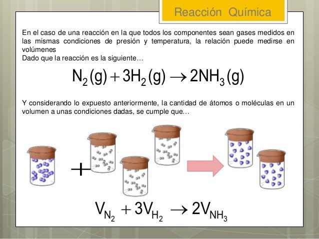 En el caso de una reacción en la que todos los componentes sean gases medidos en las mismas condiciones de presión y tempe...