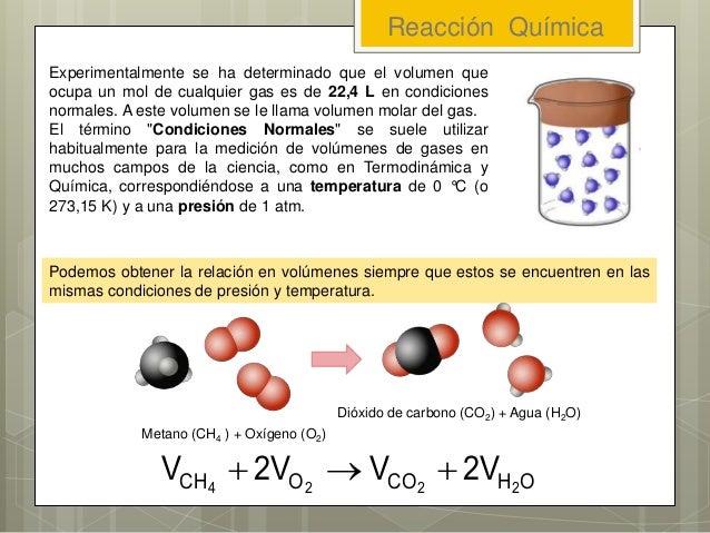 Reacción Química Experimentalmente se ha determinado que el volumen que ocupa un mol de cualquier gas es de 22,4 L en cond...