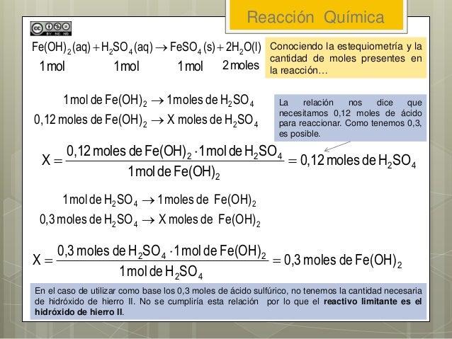 Reacción Química 422 422 SOHdemolesXFe(OH)demoles0,12 SOHdemoles1Fe(OH)demol1   42 2 422 SOHdemoles0,12 Fe(OH)demol1 SOH...
