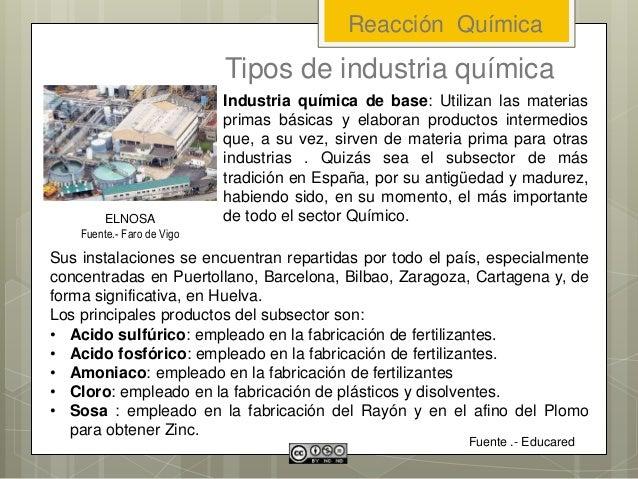 Tipos de industria química Sus instalaciones se encuentran repartidas por todo el país, especialmente concentradas en Puer...