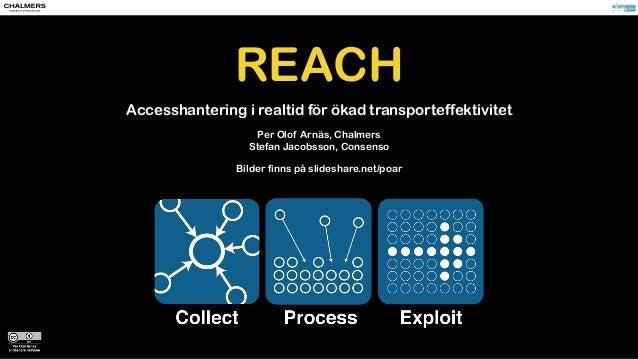REACH Accesshantering i realtid för ökad transporteffektivitet Per Olof Arnäs, Chalmers Stefan Jacobsson, Consenso Bilder ...