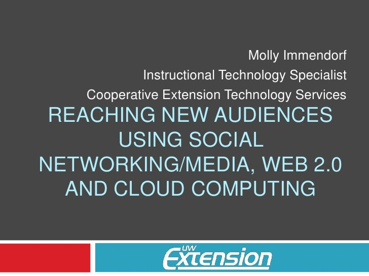 Molly Immendorf<br />Instructional Technology Specialist<br />Cooperative Extension Technology Services<br />Reaching new ...