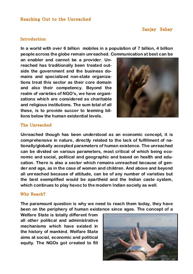 1	    	    Reaching Out to the Unreached Sanjay Sahay Introduction	    In a world with over 6 billion mobiles in a popul...