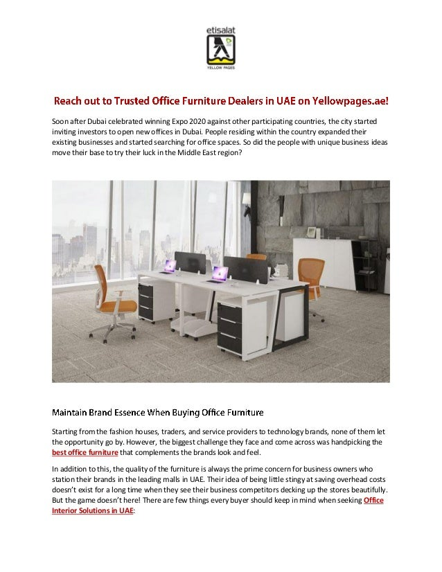 Reach Out To Trusted Office Furniture Dealers In Uae On Yellowpages