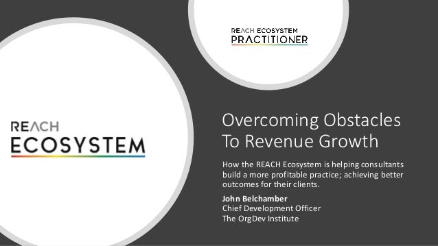 Overcoming Obstacles To Revenue Growth How the REACH Ecosystem is helping consultants build a more profitable practice; ac...