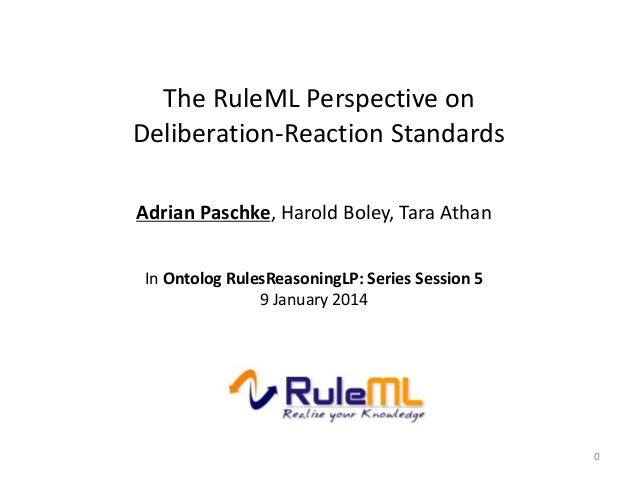 The RuleML Perspective on Deliberation-Reaction Standards Adrian Paschke, Harold Boley, Tara Athan In Ontolog RulesReasoni...