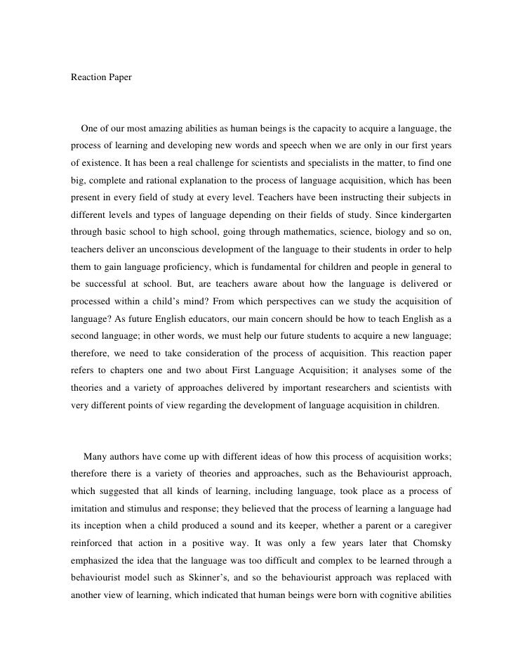 reflection and reaction paper of human evolution essay Online writing resource  read other students' work to get ideas about how to address your topic and organize your paper  we are one of the largest essay sites.