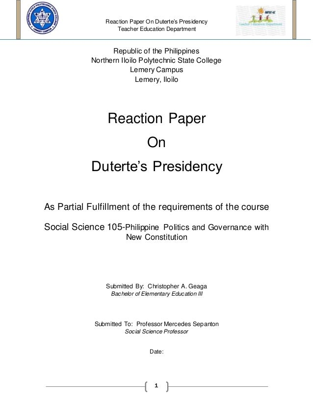 reaction paper rizal essay Jose rizal reaction paper or any similar topic specifically for you do not waste  essay sample written strictly according to your requirements a sample wanted.