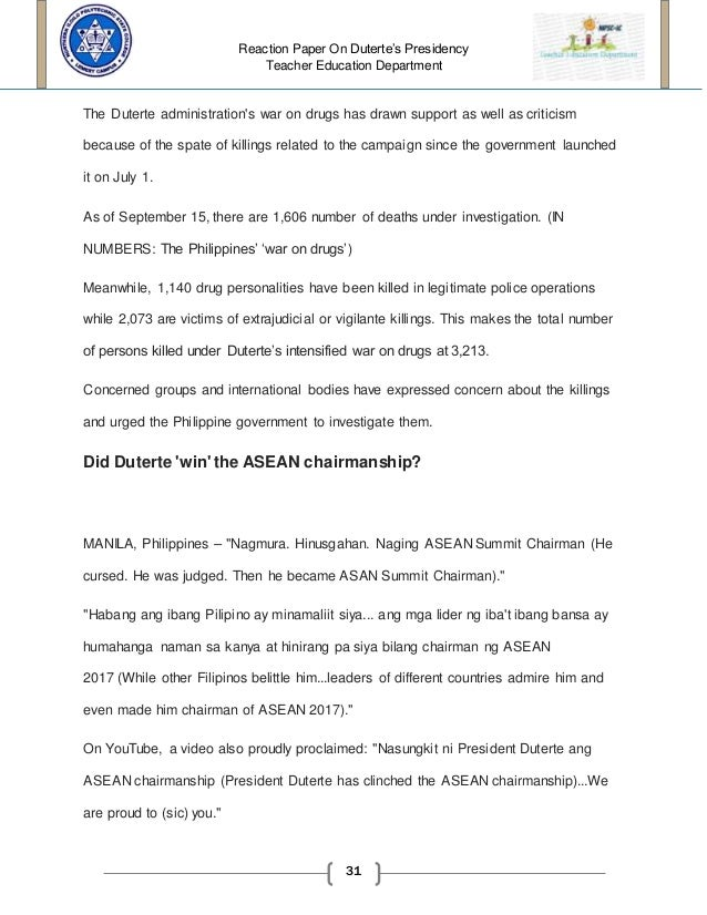 reaction paper in president rodrigo duterte administration 31
