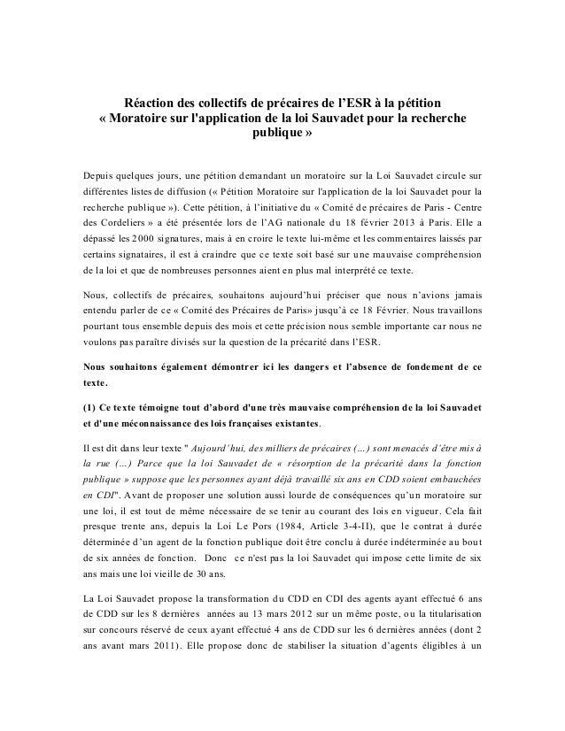 Réaction des collectifs de précaires de l'ESR à la pétition   « Moratoire sur lapplication de la loi Sauvadet pour la rech...