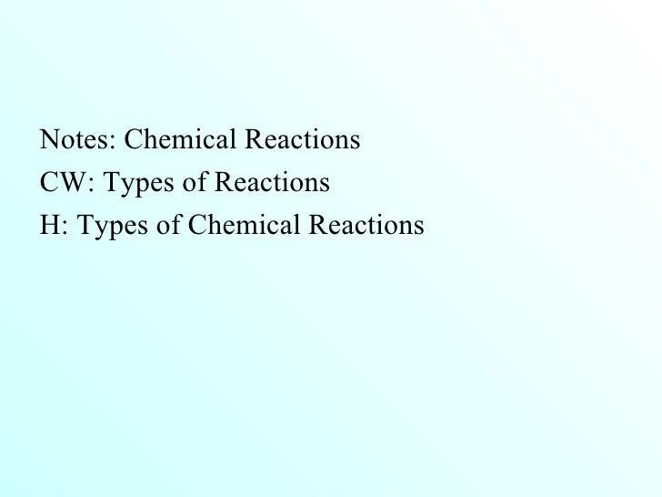 <ul><li>Notes: Chemical Reactions </li></ul><ul><li>CW: Types of Reactions </li></ul><ul><li>H: Types of Chemical Reaction...