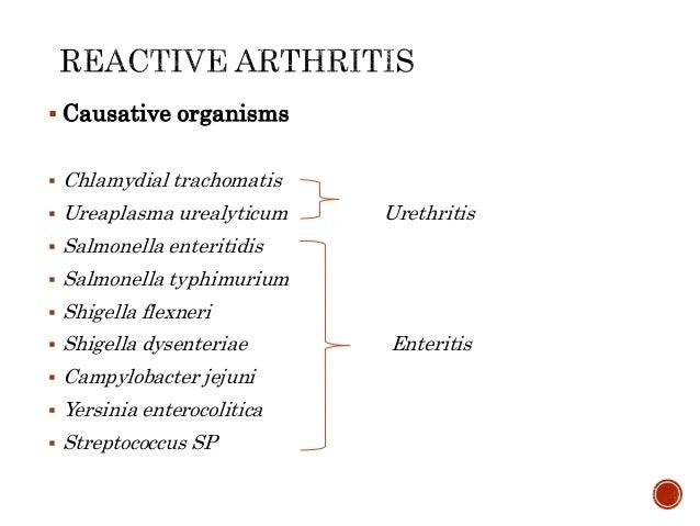  Causative organisms  Chlamydial trachomatis  Ureaplasma urealyticum Urethritis  Salmonella enteritidis  Salmonella t...