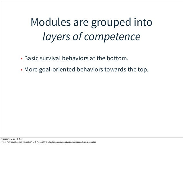 Modules are grouped into layers of competence • Basic survival behaviors at the bottom. • More goal-oriented behaviors tow...