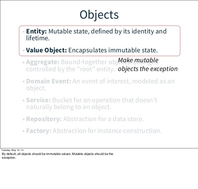 Objects • Entity: Mutable state, defined by its identity and lifetime. • Value Object: Encapsulates immutable state. • Agg...