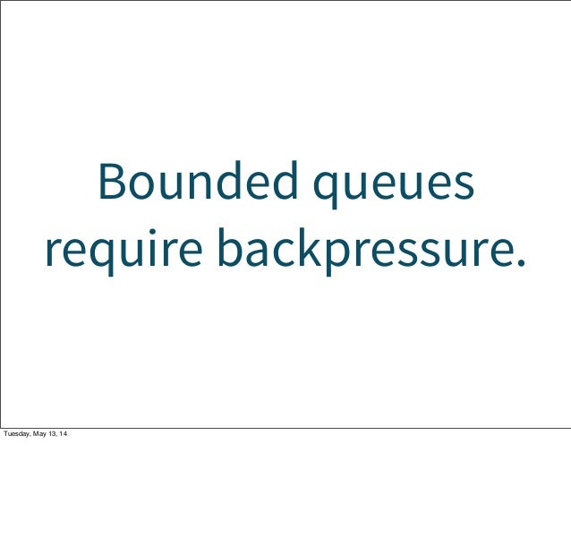 Bounded queues require backpressure. Tuesday, May 13, 14